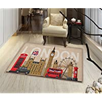 London Door Mats for home Famous Great Britain Landmarks Monuments Collection Touristic Travel Destination Customize Bath Mat with Non Slip Backing 20x32 Multicolor