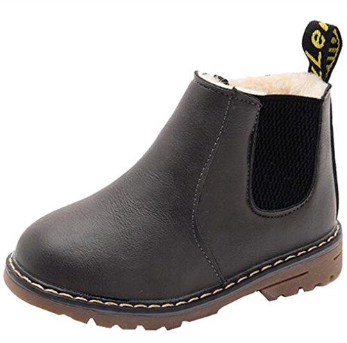- DADAWEN Boy's Girl's Waterproof Side Zipper Short Ankle Winter Snow Boots Gray US Size 2 M Little Kid