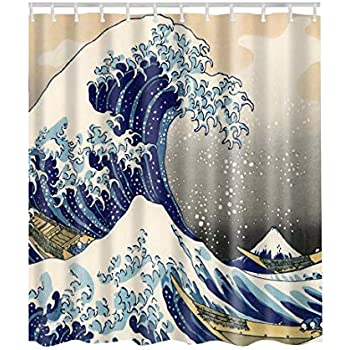 Artown Sea Wave Shower Curtain Blue Giant Waves Of Kanagawa Rolling IPrint Cool Abstract Japanese