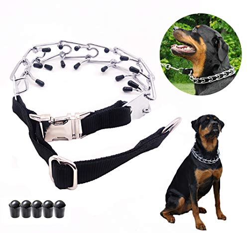 Mark deAndrew Dog Prong Collar with Quick Release Snap Buckle Adjustable Size Stainless Steel Plated Choke Pinch Training Collar for Medium and Large Dogs (Collar, Black) ()