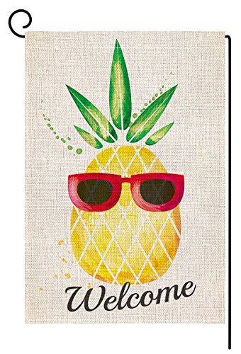BLKWHT Welecome Summer Pineapple Garden Flag Vertical Double