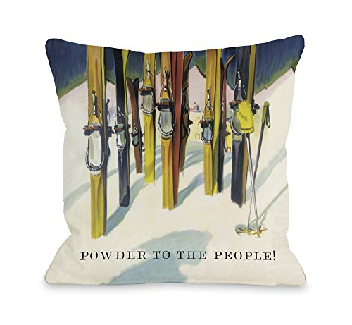 One Bella Casa Powder to the People Vintage Ski Throw Pillow Cover by OBC, 18