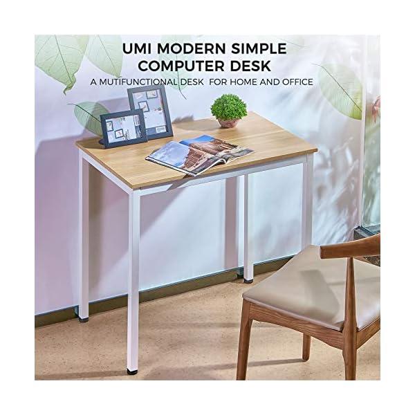 UMI.by Amzon Bureau d'ordinateur Simple Bureau Robuste Petit Bureau en Bois pour Ordinateur Portable 80 x 50 x 75 cm
