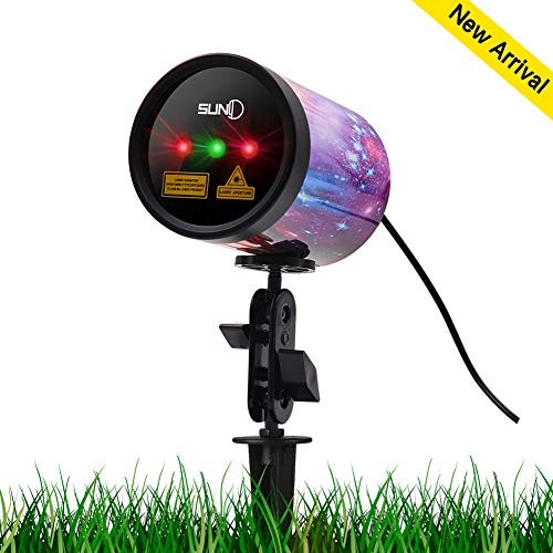 Outdoor Laser Light SUNY 3 Lens Christmas Laser Projection Red Green Color Xmas Theme Projector Landscape Light Color Printed Aluminum Alloy Shell Wide Coverage Waterproof Holiday Party Night Decor]()