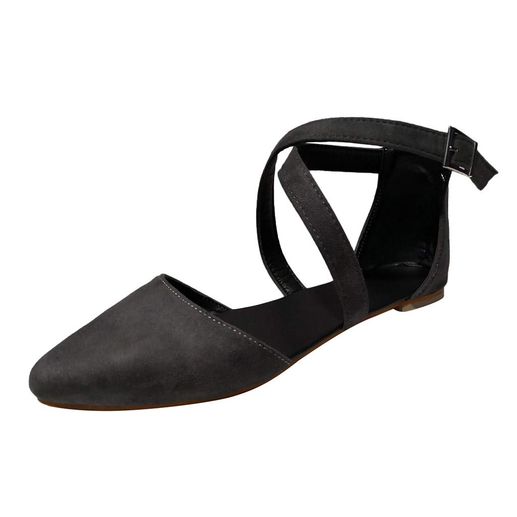 Women LiteRide Sandal,FAPIZI Ladies Pointed Toe Flat with Shoes Shallow Mouth Cross Buckle Strap Sandals Black