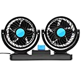 SySrion Dual Heads Car Fan 12V Vehicle Fans - 360 Degree Manual Rotation, 2 Speed Adjustable Strong Wind - Ventilation Dashboard Electric Fans - Quickly Blow Away Hot Air Smoke Smell Bad Odors