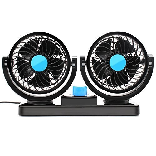 [SySrion Dual Heads Car Fan 12V Vehicle Fans-360 Degree Rotation 2 Speed Adjustable Strong Wind Auto Cooling Air Fan-Ventilation Dashboard Electric Fans-Quickly Blow Away Hot Air Smoke Smell Bad Odors] (Fan Board)