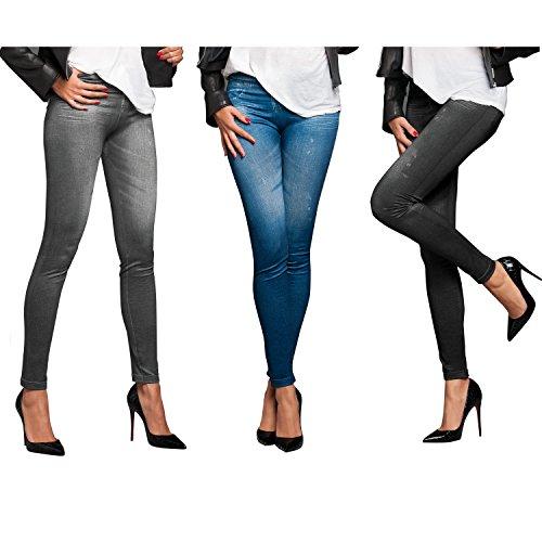 TV Unser Original Veronas Dreams Slim Jeans Leggings Damen, 3er-Set, Gr.  42/44 (Herstellergröße: XXL/3XL), Mehrfarbig (Schwarz,Blaub,Grau)