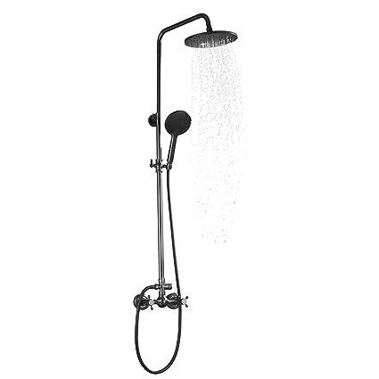 Rain Shower Head With Handheld Spray.2 Knobs Mixer Shower Faucet Set Thermostatic Rain Shower