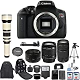 Canon EOS Rebel T6i 24.2 MP Digital SLR Camera with Canon EF-S 18-55mm IS Lens + Canon 75-300mm Zoom Lens + Canon EF 50mm f/1.8 II Lens + 650-1300mm Zoom Lens + 2 pc Commander 32GB Memory Cards