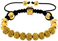 Royal Diamond Monaco Yellow Shamballa Adjustable Pave Bracelet with Swarovski Crystals
