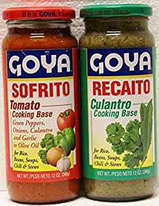 Goya Recaito & Goya Sofrito Cooking Base 2-12 Oz Jars (1 of Each)