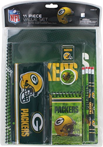 NFL Green Bay Packers Stationery Set (11 Piece), One Size, Multicolor (Green Bay Packers Office Supplies)
