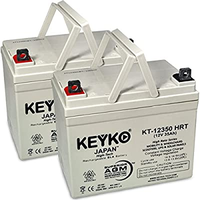12V 35Ah Deep Cycle AGM / SLA Battery for Wheelchairs Scooters Mobility UPS & Solar - Genuine KEYKO - Nut & Bolt Terminal