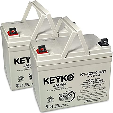 12V 35Ah Deep Cycle AGM / SLA Battery for Wheelchairs Scooters Mobility UPS & Solar - 2 Pack - Genuine KEYKO - Nut & Bolt - Fiesta Nuts