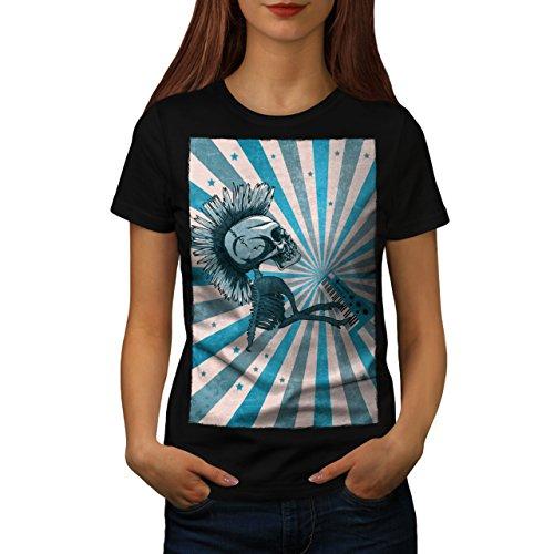 Punk Music Skeleton Skull Evil Puppet Women L T-shirt   Wellcoda (Evil Cheerleader Dress)