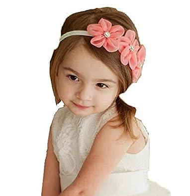cae1faa9440 ... Flower hairband Headband baby Girls toddler girls Pearl Rose Flower  Hair Band Headband Ribbon Elasticity Hair Accessories Headwear  Amazon.in   Jewellery