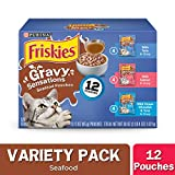 Purina Friskies Gravy Wet Cat Food Variety Pack, Gravy Sensations Seafood Pouches - (2 Packs of 12) 3 oz. Pouches