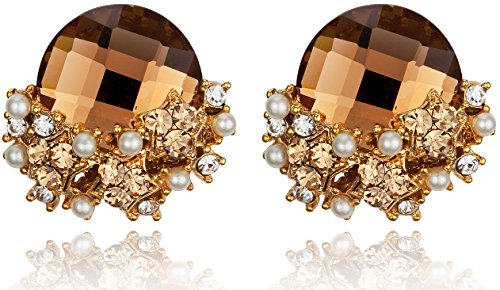 [Elegant Topaz Colored Rhinestone with Star-Shaped Cluster Post Earrings] (Dancing With The Stars Costumes Designs)