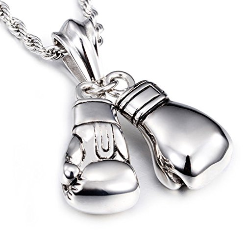 New Stainless Steel Biker Boxing Gloves Men Women Pendant Necklace Free Rope Chain 24