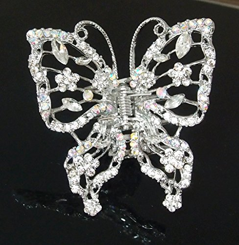 Woman's new big butterfly design metal rhinestones hair clip claws by beautyxyz (New Hair Jaw Clip)
