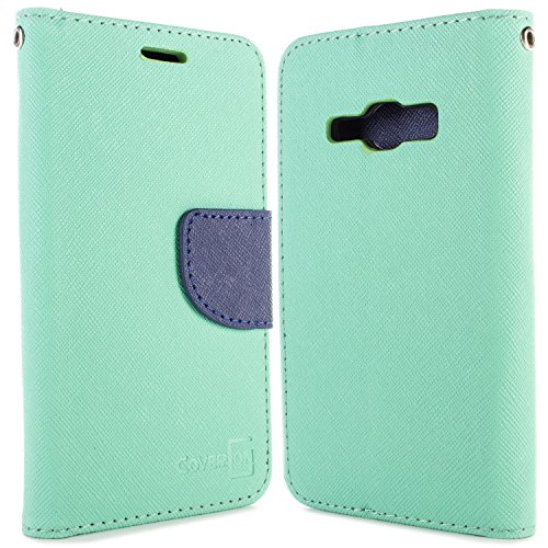Samsung Galaxy J1 Ace Case, CoverON [Carryall Series] Flip Folio Card Slot Pouch Cover + Strap + Stand Wallet Case for Samsung Galaxy J1 Ace - Teal & Navy - Galaxy Flip Cover Samsung Ace
