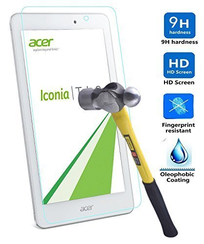 Acer Iconia One 8 B1-850 screen protector, KuGi ®-Ultra-thin 9H Hardness High Quality HD clear Premium Tempered Glass Screen Protector for Acer Iconia One 8 B1-850 tablet (1ps)
