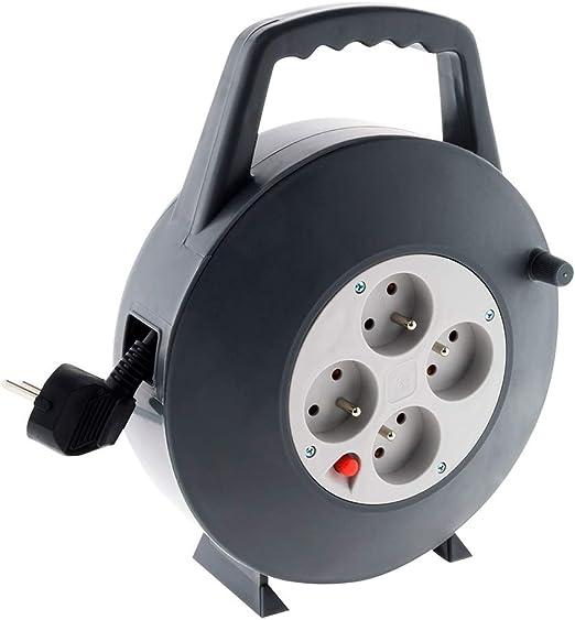 Rallonge Prolongateur Électrique 15m Enrouleur Multi 4 Prises 16A 3G1,5 mm² Gris