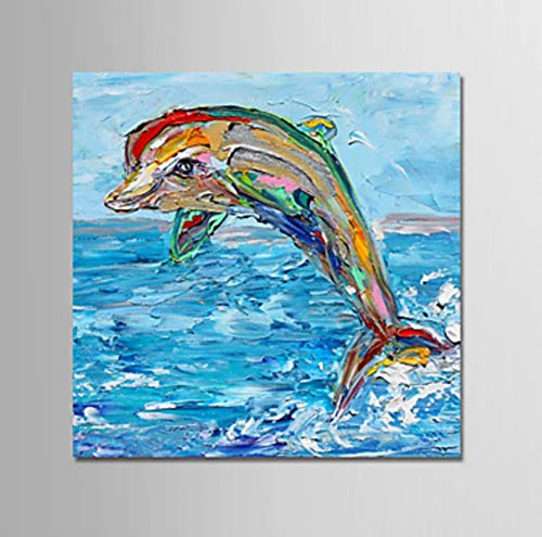 Hand Painted Kids Murals - ZLYYH Hand Painted Oil Paintings On Canvas,Abstract Animal Painting,Ocean Jumping Dolphins,Home Decor,Wall Art Picture for Living Room Bedroom Kid's Room Porch Corridor Mural,80×80Cm