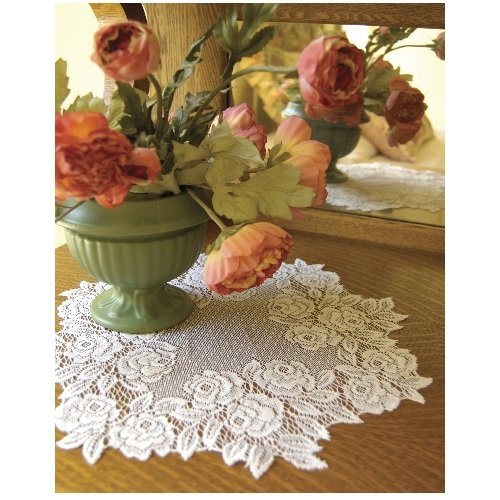 Heritage Lace Tea Rose 15-Inch Round Doily, Ecru, Set of 2
