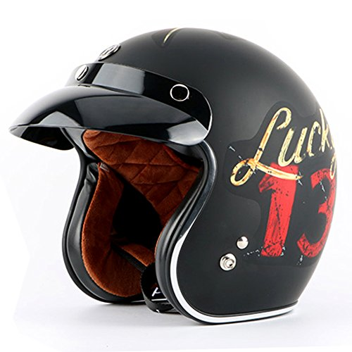 Tewin Helmet Casco Capacete Vintage Motocross Helmets Moto Cafe Racer Motorcycle Scooter 3/4 Retro Open Face Motocicleta Cacapete (M, Lucky Red ll)