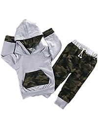 Baby Boys Girls Camouflage Long Sleeve Pocket Hoodie Pants Set Tops + Pants