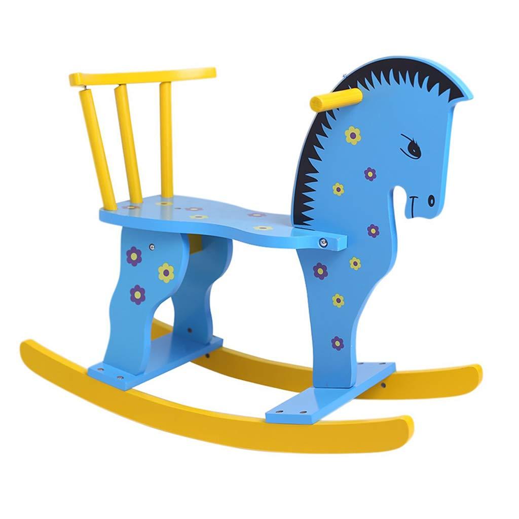 QIQIDEDIAN トロイの木馬ロッキング馬子供服ベビーロッキングチェアソリッドウッド1-3歳のギフト (Color : Blue)  Blue B07K2SBPG7