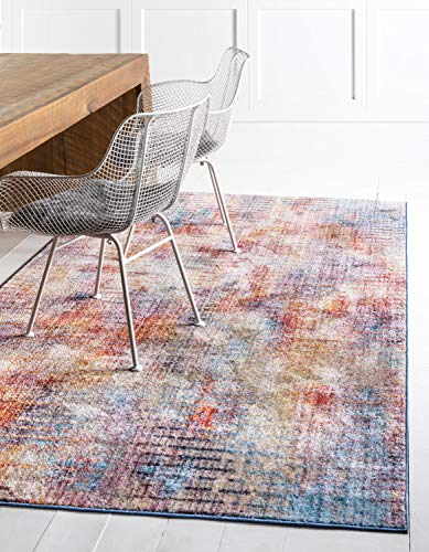 Unique Loom Downtown Collection by Jill Zarin Collection Abstract Modern Watercolor Kids Pastel Tones Multi Area Rug (5' 0 x 8' 0) (Zara Rug Collection)