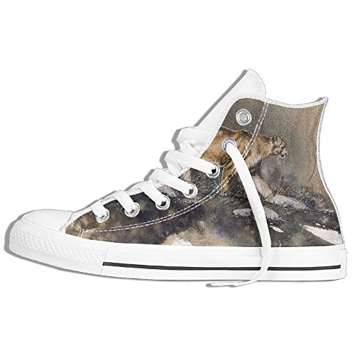 Classic High Top Sneakers Canvas Shoes Anti-Skid Cougar Casual Walking For Men Women White 5rdom