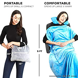 4 in 1 Travel Blanket – Lightweight, Warm and Portable. The Latest Small Compact Airplane Blankets & Pillow Set. Made of Warm Plush, 2 Practical Mesh Pockets with Fashionable Carry & Luggage Straps