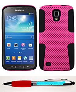 Accessory Factory(TM) Bundle (Phone Case, 2in1 Stylus Point Pen) SAMSUNG i537 (Galaxy S4 Active) Hot Pink Black Astronoot Phone Protector Cover