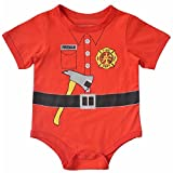 Hooyi Baby boy Red Fireman Bodysuit Short Sleeve Romper