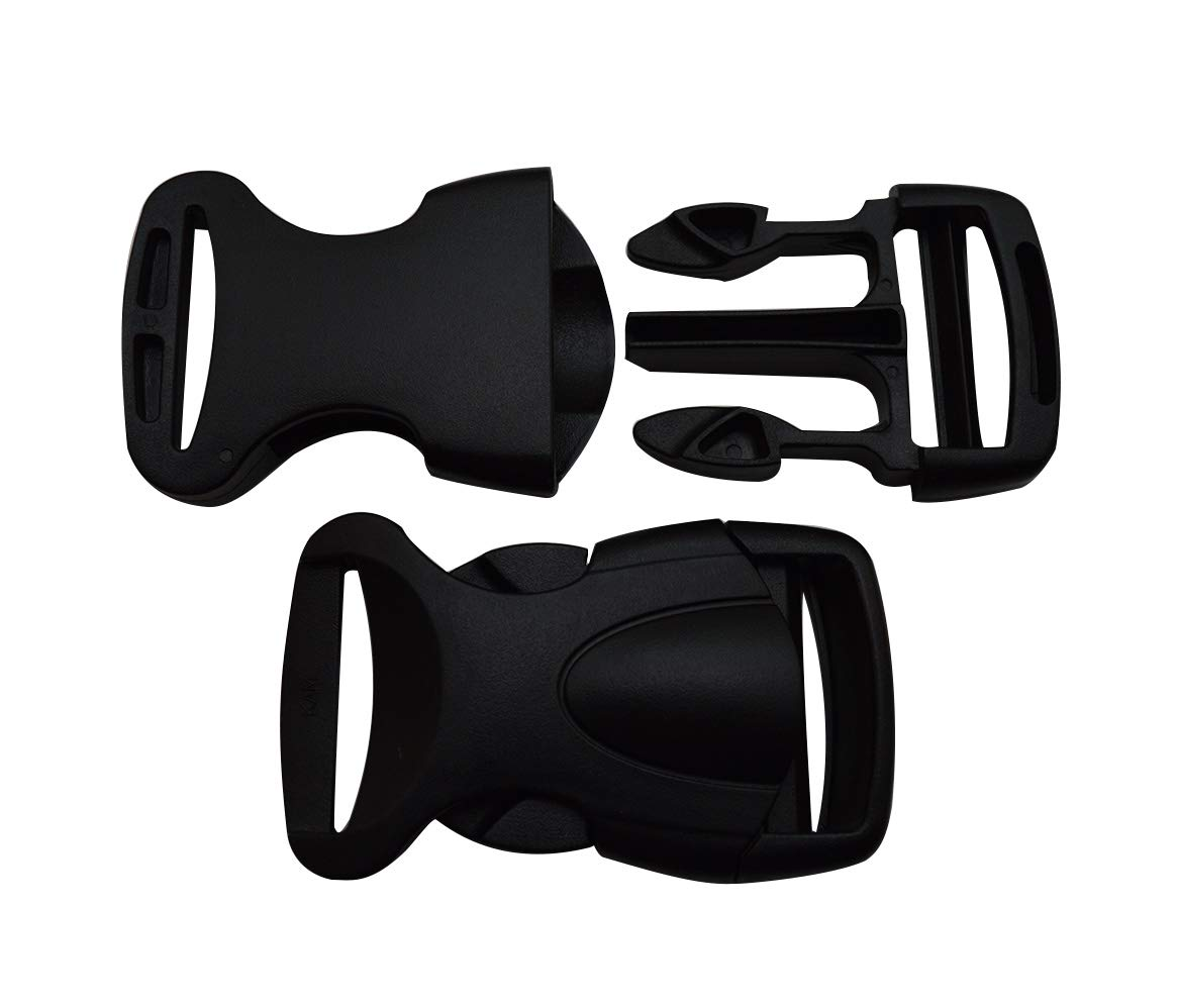 Wuuycoky 0.8 Inner Width Black Plastic Contoured Curved Side Release Buckle One Side Adjustable Pack of 10