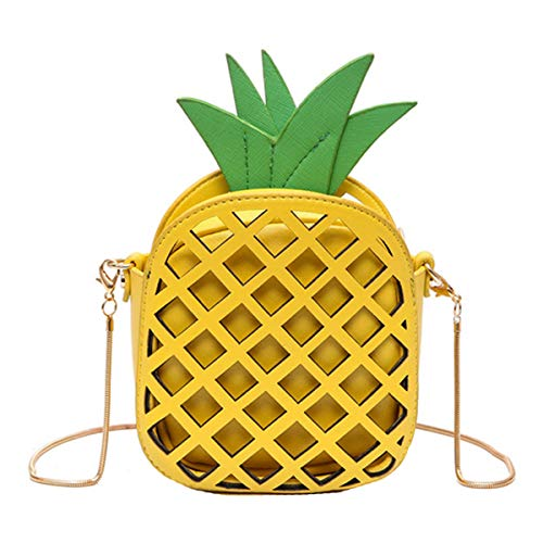 Rebecca Fashion Pineapple Shape Shoulder Bags Hollow Out Chain Bag Casual Cross Body Bag for Girl & Women (Yellow) (Compartment Main Has Drawstring)