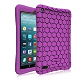 7 inc tablet cover - Fintie Silicone Case for All-New Amazon Fire 7 Tablet (7th Generation, 2017 Release) - [Honey Comb Upgraded Version] [Kids Friendly] Light Weight [Anti Slip] Shock Proof Protective Cover, Purple