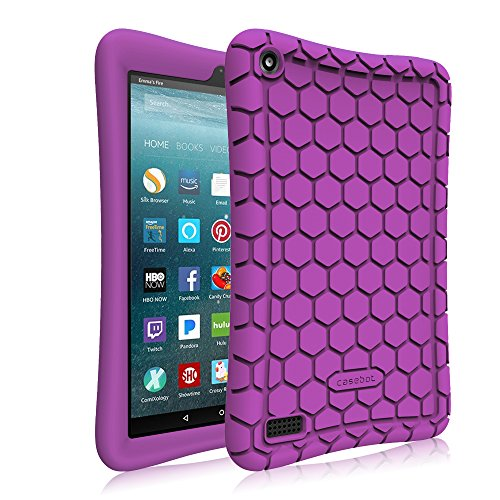 Purple Silicone Protective Case (Fintie Silicone Case for All-New Amazon Fire 7 Tablet (7th Generation, 2017 Release) - [Honey Comb Upgraded Version] [Kids Friendly] Light Weight [Anti Slip] Shock Proof Protective Cover, Purple)