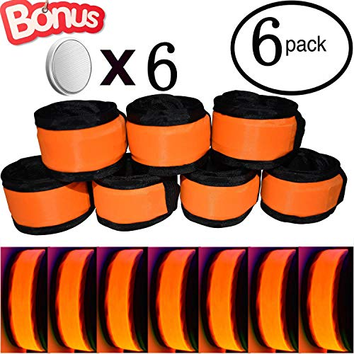 AMNQUERXUS LED Glow Slap Bracelet, Light Up Wristband 6-Pack High Visibility Safety Band for Cycling Walking Running Concert Camping Outdoor Sports-Fits Women, Men & Kids, Orange