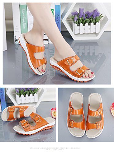Platform Shoes Walking Cystyle Wedges Orange Sandals Women Leather Comfort for Heeled Ups Peep Shape Women's Toe 7C5wCq
