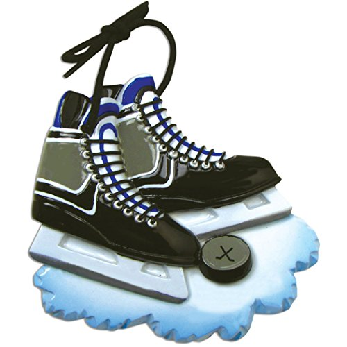 Personalized Hockey Skates Christmas Tree Ornament 2019 - Black Ice Shoe Blades with Ball Athlete Team Coach Hobby School Profession Winter Sport Gender Neutral Gift Year - Free Customization (Best Ice Skates 2019)