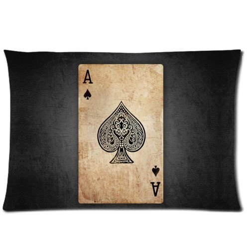 Poker Cards Ace of Spades Pillowcase - Zippered Pillowcase, Pillow Protector Cover Cases - Standard Size 20x30 inches, One-sided Print by WECE