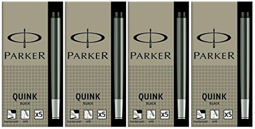 Refill Permanent Cartridge (Parker Quink Permanent Ink Fountain Pen Refill Cartridges, 20 Black Ink Refills (3011031PP))