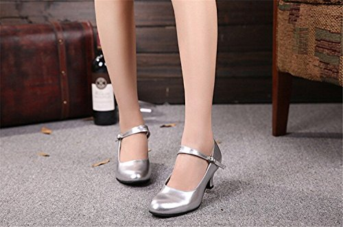 Silver Dance Leather PU Kitten Closed Suede Shoes Latin Outdoor toe Modern Heel pXxfvq