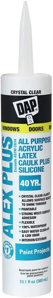 Dap 18401 Crystal Clear Alex Plus Acrylic Latex Caulk Plus Silicone 10.1-Ounce
