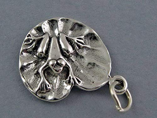New Sterling Silver Charm Pendant Frog ON Lily PAD Vintage Crafting Pendant Jewelry Making Supplies - DIY for Necklace Bracelet Accessories by CharmingSS